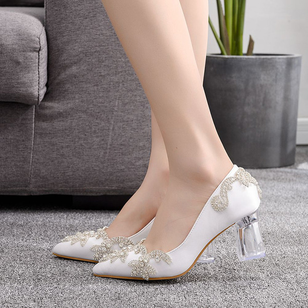 Kids' Satin Chunky Heel Closed Toe Pumps With Sequin Crystal Heel
