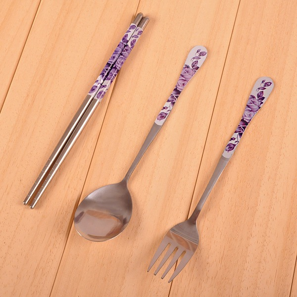 Stainless Steel Spoon and Chopsticks Set (Sold in a single piece)
