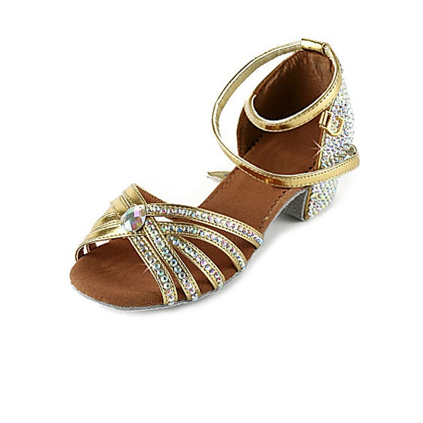Women's Patent Leather Heels Sandals Latin With Rhinestone Ankle Strap Dance Shoes