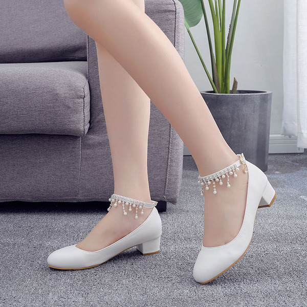 Kids' Leatherette Chunky Heel Closed Toe Pumps MaryJane With Rhinestone Tassel