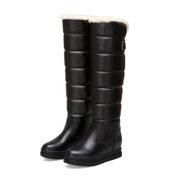 Women's Leatherette PU Flat Heel Platform Boots Knee High Boots Snow Boots shoes