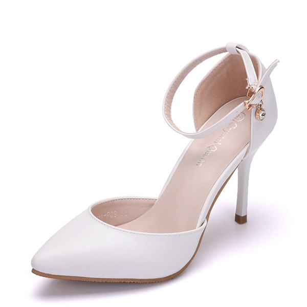 Women's Leatherette Stiletto Heel Closed Toe Pumps Sandals MaryJane With Buckle Rhinestone